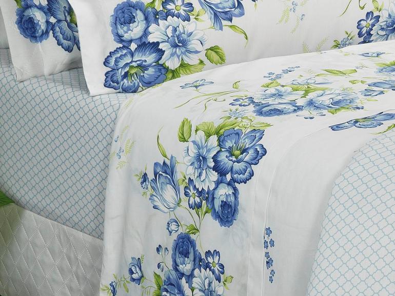 Jogo de Cama Casal Percal 180 fios - Iohana Azul - Dui Design