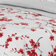 Kit: 1 Cobre-leito Queen Bouti de Microfibra Ultrasonic Estampada + 2 Porta-travesseiros - Yoki Vermelho - Dui Design