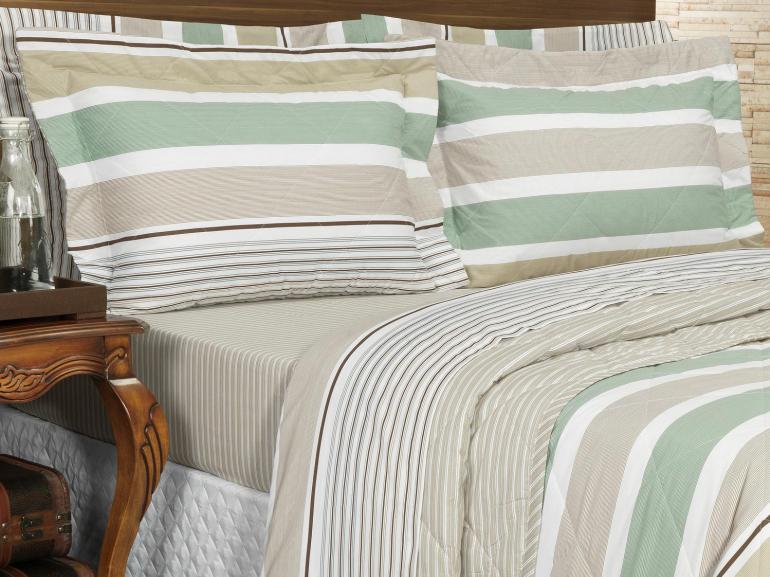 Kit: 1 Cobre-leito Casal + 2 Porta-travesseiros Percal 200 fios - Zeus Castanho - Dui Design